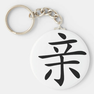 Chinese Character : qin, Meaning: kiss, intimate, Keychain