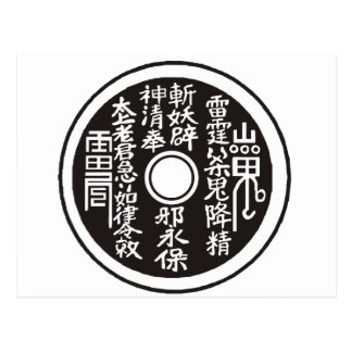 Chinese coin blk postcard