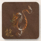 Chinese Copper Dragon on Faux Leather Coaster