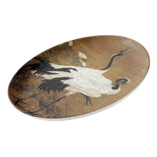 Chinese Crane Birds Flowers Serving Platter