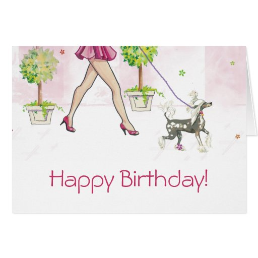 Chinese Crested Dog Birthday Cards