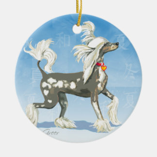 Chinese Crested Dog Ceramic Ornament