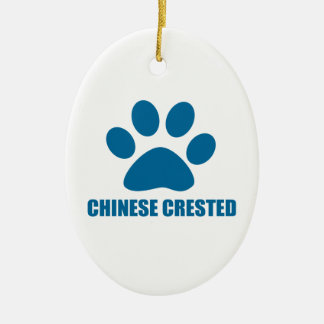 CHINESE CRESTED DOG DESIGNS CERAMIC ORNAMENT