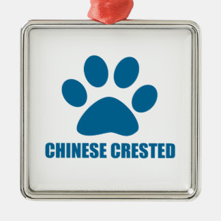 CHINESE CRESTED DOG DESIGNS METAL ORNAMENT