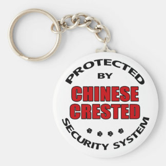 Chinese Crested Dog Security Basic Round Button Keychain