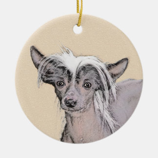 Chinese Crested (Hairless) 2 Ceramic Ornament