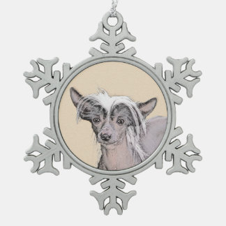 Chinese Crested (Hairless) 2 Snowflake Pewter Christmas Ornament