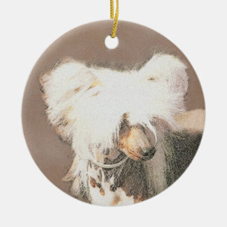 Chinese Crested (Hairless) Ceramic Ornament