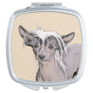 Chinese Crested Hairless Painting Original Dog Art Compact Mirrors
