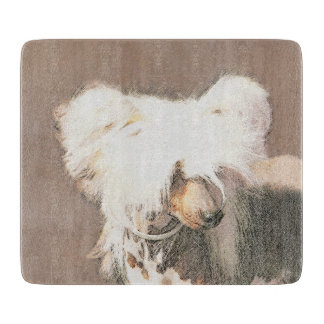 Chinese Crested Hairless Painting Original Dog Art Cutting Board