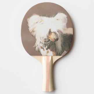 Chinese Crested Hairless Painting Original Dog Art Ping Pong Paddle