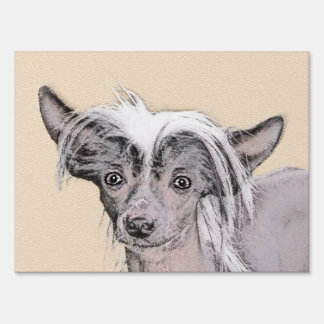 Chinese Crested Hairless Painting Original Dog Art Sign