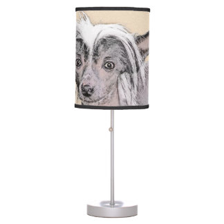 Chinese Crested Hairless Painting Original Dog Art Table Lamp