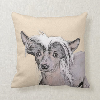 Chinese Crested Hairless Painting Original Dog Art Throw Pillow