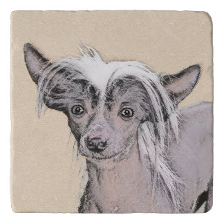 Chinese Crested Hairless Painting Original Dog Art Trivet