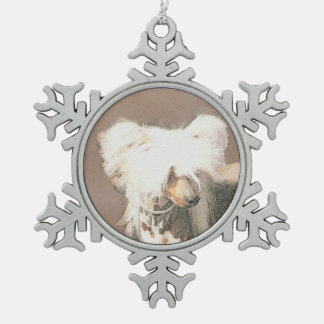 Chinese Crested (Hairless) Snowflake Pewter Christmas Ornament