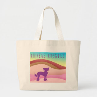 Chinese Crested Landscape w/ Text Large Tote Bag