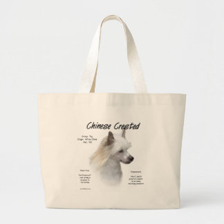 Chinese Crested (powderpuff) History Design Large Tote Bag