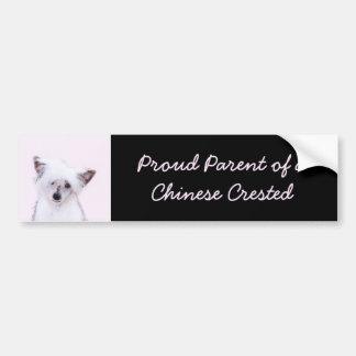 Chinese Crested Powderpuff Painting - Dog Art Bumper Sticker