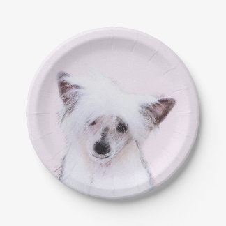 Chinese Crested Powderpuff Painting - Dog Art Paper Plate