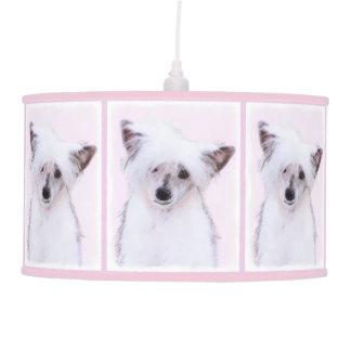 Chinese Crested Powderpuff Painting - Dog Art Pendant Lamp
