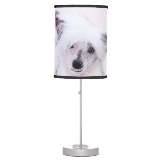 Chinese Crested Powderpuff Painting - Dog Art Table Lamp