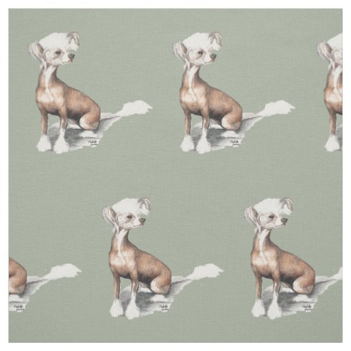 Chinese Crested Sitting Dog Art Fabric