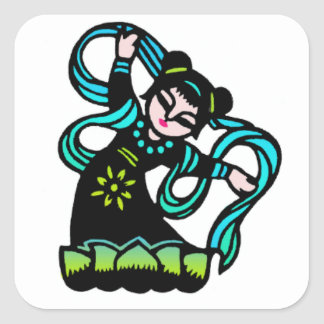 Chinese dancer square sticker
