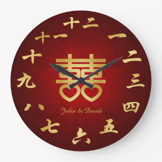 Chinese Double Hapiness Symbol - Add Couples Name Wallclocks