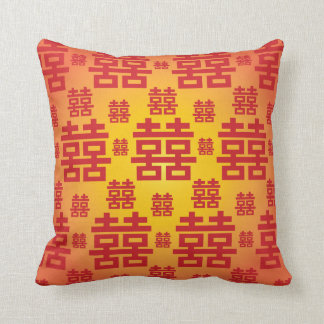 Chinese Double Happiness Good Fortune Wedding Throw Pillow