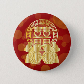 Chinese Double Happiness Koi Fish Red background 2 Inch Round Button
