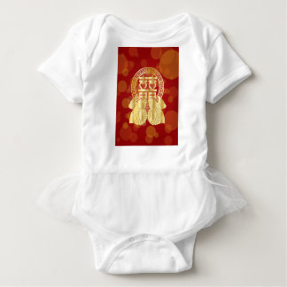 Chinese Double Happiness Koi Fish Red background Baby Bodysuit