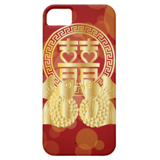 Chinese Double Happiness Koi Fish Red background Case For The iPhone 5