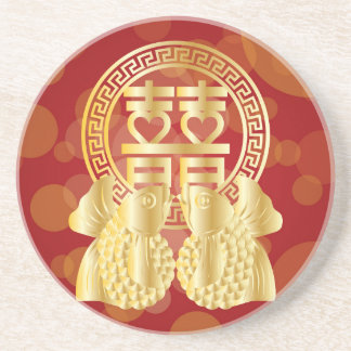 Chinese Double Happiness Koi Fish Red background Coaster