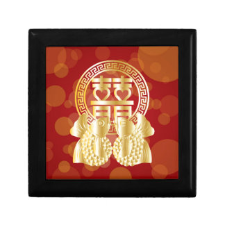 Chinese Double Happiness Koi Fish Red background Gift Box