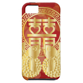 Chinese Double Happiness Koi Fish Red background iPhone 5 Case