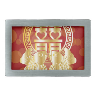 Chinese Double Happiness Koi Fish Red background Rectangular Belt Buckles