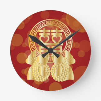 Chinese Double Happiness Koi Fish Red background Round Clock