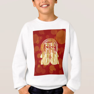 Chinese Double Happiness Koi Fish Red background Sweatshirt