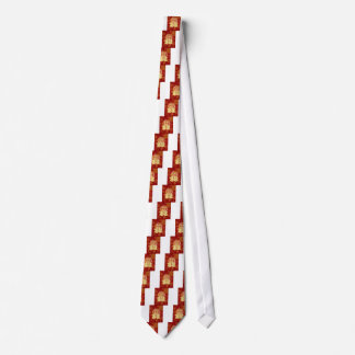 Chinese Double Happiness Koi Fish Red background Tie
