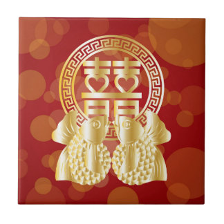Chinese Double Happiness Koi Fish Red background Tile
