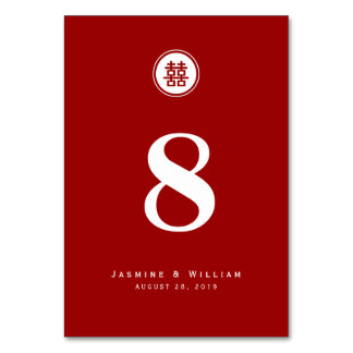 Chinese Double Happiness Wedding Table Number Card