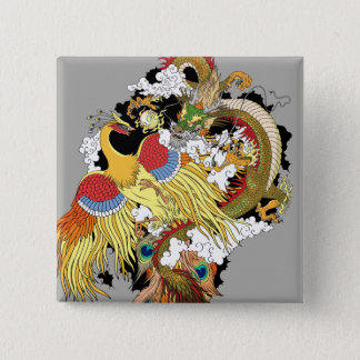 chinese dragon and phoenix 2 inch square button