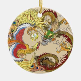 Chinese dragon and phoenix ceramic ornament
