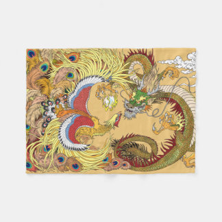 Chinese dragon and phoenix fleece blanket