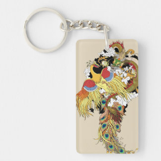Chinese dragon and phoenix keychain