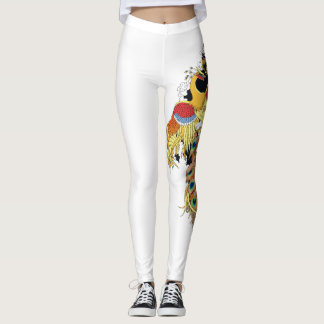 Chinese dragon and phoenix leggings