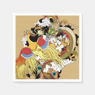 Chinese dragon and phoenix napkin