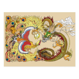 Chinese dragon and phoenix postcard