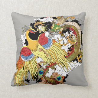 Chinese dragon and phoenix throw pillow